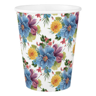 Beautiful Colorful Flowers Pattern Paper Cup