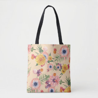 Beautiful Colorful Flowers With Leafs Tote Bag