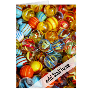 beautiful colorful glass marble balls photograph card