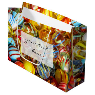 beautiful colorful glass marble balls photograph large gift bag