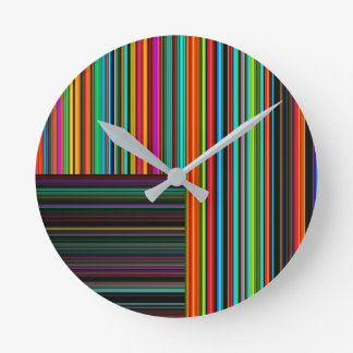 Beautiful Colorful Multicolored Stripe Pattern Round Clock