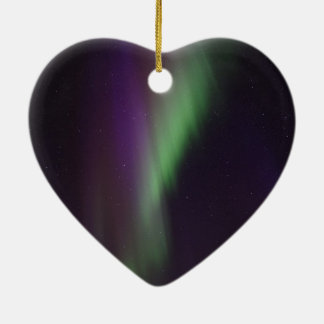 Beautiful colorful northern lights Double-Sided heart ceramic christmas ornament