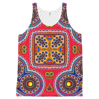 Beautiful Colorful Paisley Pattern,Red Paisley All-Over Print Singlet