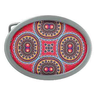 Beautiful Colorful Paisley Pattern,Red Paisley Belt Buckles