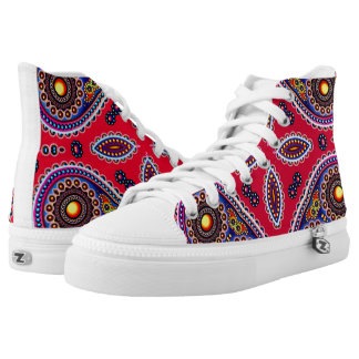 Beautiful Colorful Paisley Pattern,Red Paisley High Tops