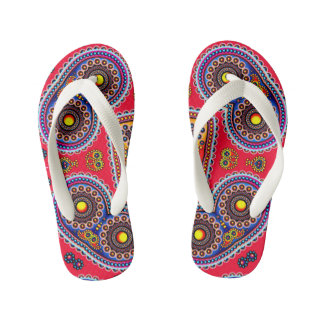 Beautiful Colorful Paisley Pattern,Red Paisley Kid's Thongs