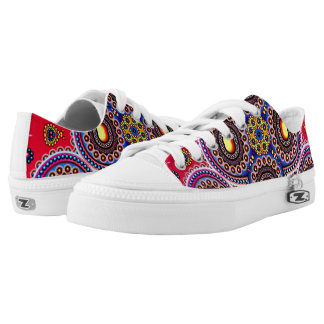 Beautiful Colorful Paisley Pattern,Red Paisley Low Tops