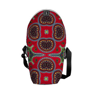 Beautiful Colorful Paisley Pattern,Red Paisley Messenger Bags
