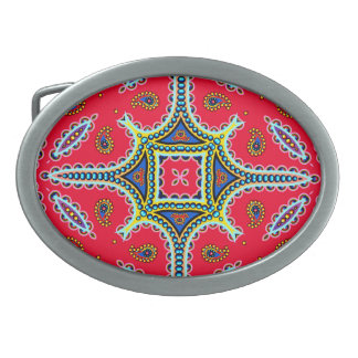 Beautiful Colorful Paisley Pattern,Red Paisley Oval Belt Buckles