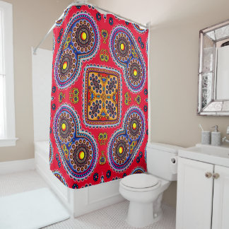 Beautiful Colorful Paisley Pattern,Red Paisley Shower Curtain