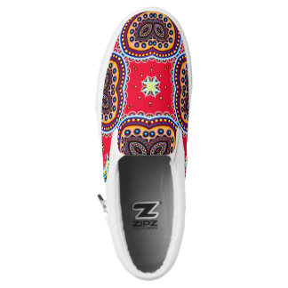Beautiful Colorful Paisley Pattern,Red Paisley Slip On Shoes