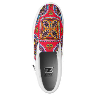 Beautiful Colorful Paisley Pattern,Red Paisley Slip-On Shoes