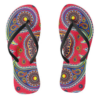Beautiful Colorful Paisley Pattern,Red Paisley Thongs