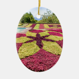 Beautiful colorful patterns and shapes in garden ceramic oval decoration