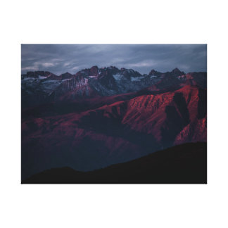 Beautiful colorful purple mountain range sunset canvas print