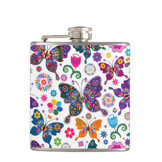 Beautiful Colorful Retro Butterflies * Flowers Hip Flask