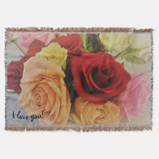 Beautiful Colorful Roses Photo Print I love you Throw Blanket
