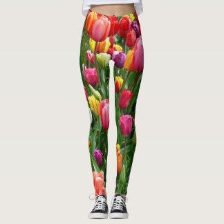 Beautiful Colorful Tulip Flowers Leggings