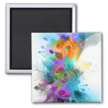 Beautiful colourful and cool splatter music note square magnet