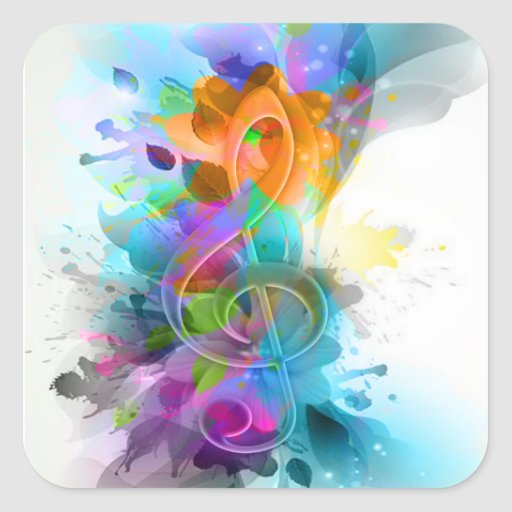 Beautiful colourful and cool splatter music note square sticker