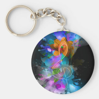 Beautiful colourful cool splatter flowers leaves basic round button key ring