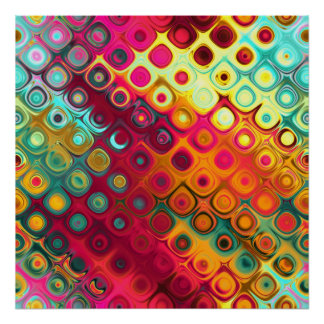 Beautiful cool abstract squares circles glass glow poster
