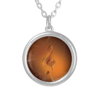 Beautiful cool glowing fire colours effects music round pendant necklace