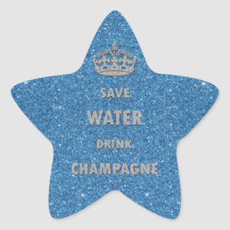 Beautiful cool  save water drink champagne crown star sticker