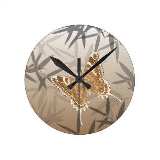 Beautiful Copper Butterfly Design Round Clock