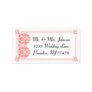 Beautiful Coral Damask & White Wedding - Address Address Label