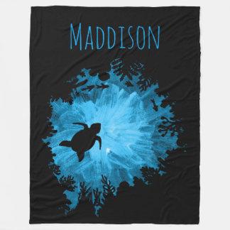 Beautiful Coral Reef Turtle Shadow Black Blue Fleece Blanket