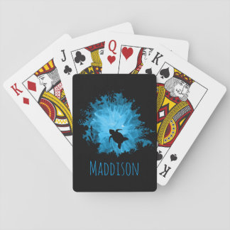 Beautiful Coral Reef Turtle Shadow Black Blue Playing Cards