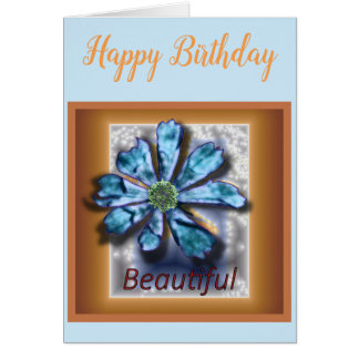 'Beautiful' Cosmos Blank Birthday Greeting Card