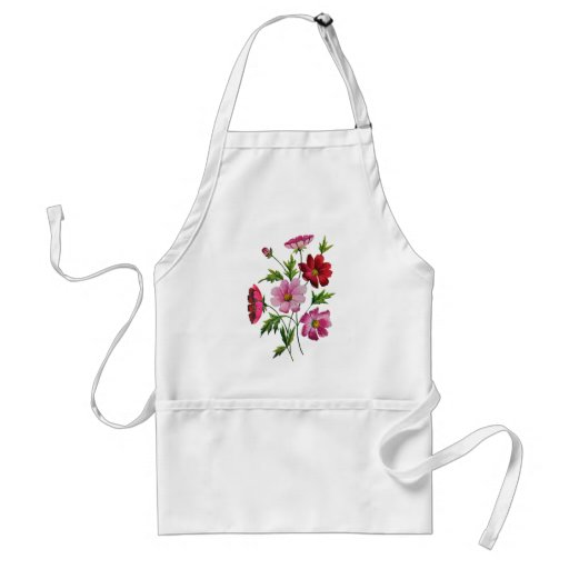 Beautiful Cosmos Flowers in Crewel Embroidery Apron