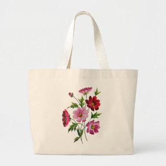 Beautiful Cosmos Flowers in Crewel Embroidery Large Tote Bag