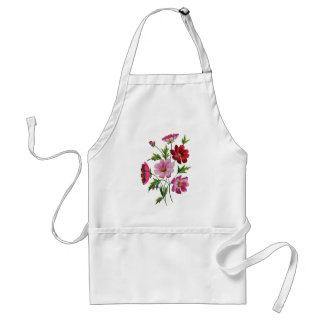 Beautiful Cosmos Flowers in Crewel Embroidery Standard Apron