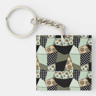 Beautiful Country Patchwork Quilt Square Acrylic Key Chain