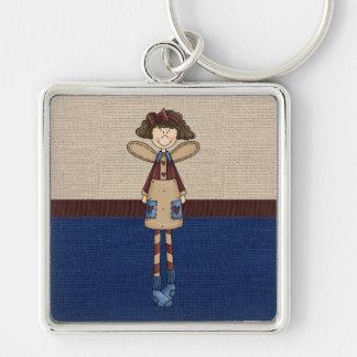 Beautiful Country Rag Doll Angel Keychain