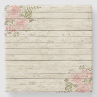Beautiful Country Shabby Chic Rustic Wood Stone Beverage Coaster