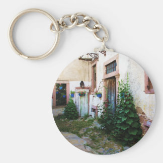 Beautiful Courtyard in Crete, Greece Basic Round Button Key Ring