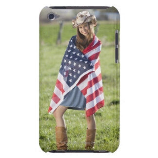 Beautiful cowgirl wrapped in American flag Barely There iPod Case