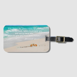 Beautiful Crab & Beach With Bible Verse Luggage Tag