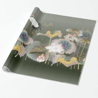 Beautiful Cranes  Lily Pads Wrapping Paper