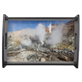 Beautiful crater active volcano serving tray