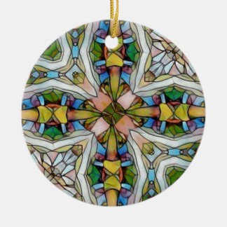 Beautiful Cross Shaped Stained Glass Inspirational Round Ceramic Decoration