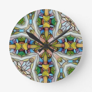 Beautiful Cross Shaped Stained Glass Inspirational Round Clock