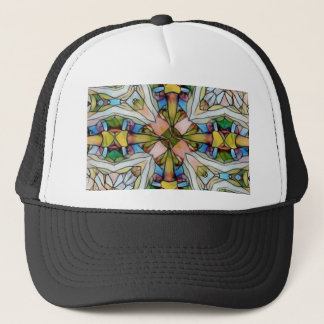 Beautiful Cross Shaped Stained Glass Inspirational Trucker Hat