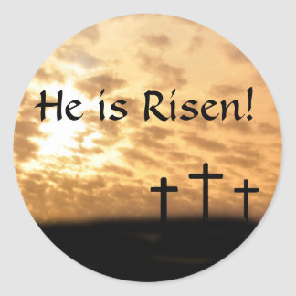 Beautiful Crosses and Sunset He is Risen Stickers
