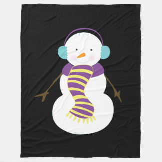 Beautiful Custom Christmas Snowman Fleece Blanket
