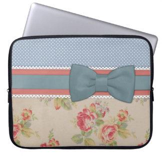 Beautiful cute elegant girly vintage flowers bow laptop sleeve